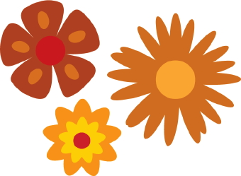 Flower Picture  on Clip Art Of Three Flowers With Brown  Red And Yellow Petals