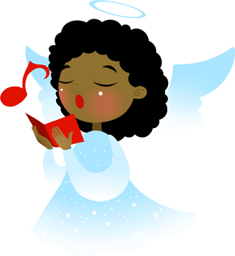 Clip art of a dark-haired angel singing from a red hymnal.