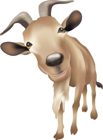 Clip art of a brown billy goat. This image is free to use in your web site