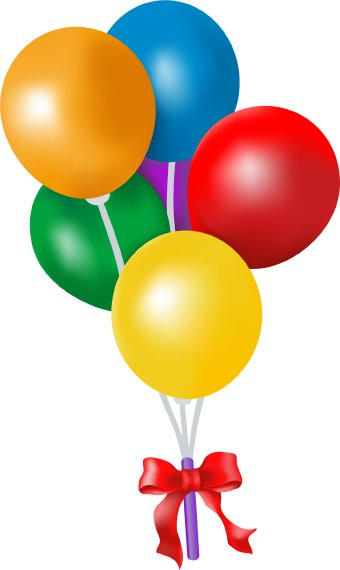 Clip art of a bouquet of colorful balloons for a birthday party or