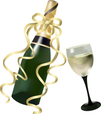 Clip art of bottle of white wine or Champagne wrapped in gold ribbon and