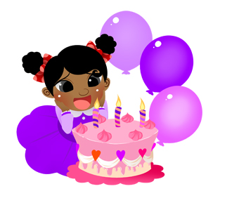 Girl With Birthday Cake Pop Up Card Template