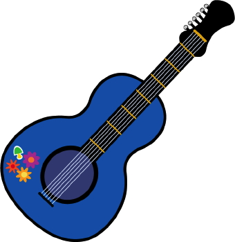 Clip art of a blue guitar painted with groovy and colorful flowers and ...