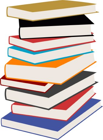 Clip art of a colorful stack of nine books.