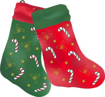 Clip art of two red and green christmas stockings decorated with candy