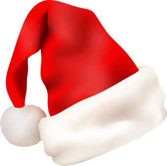 Clip art of a red santa hat with white trim