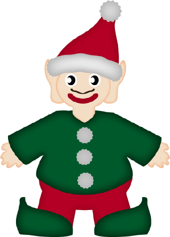 Clip art of a happy christmas elf dressed in green with a red santa