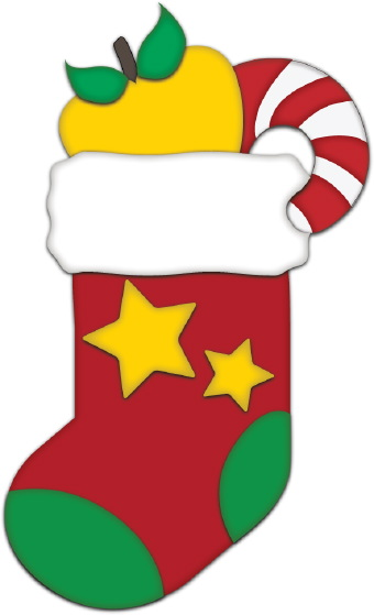 Clip art of a big red Christmas stocking with yellow stars and green ...