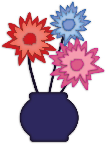 Clip art of three colorful red  blue  and pink flowers in a round vase    Vase Of Flowers Clip Art