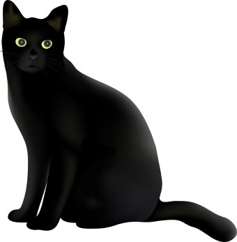 Clip art of a black cat with