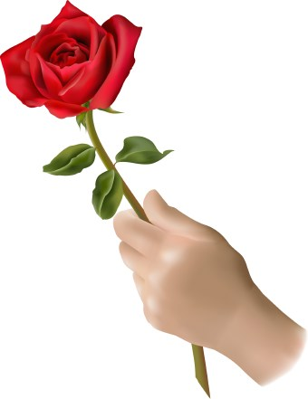 Clip art of a hand holding a single red rose flower. This image is free to