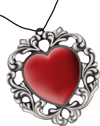 heart clipart free. Clip art of a pendant with a
