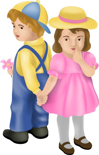 Clip art of shy little boy and girl standing back-to-back holding hands.