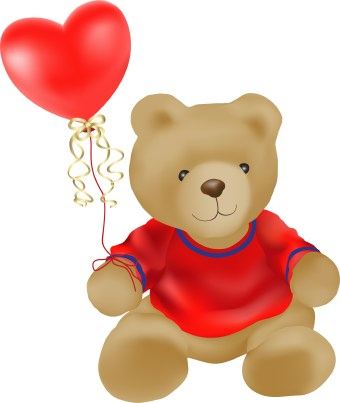 Clip art of a teddy bear wearing a red sweater holding a heart-shaped