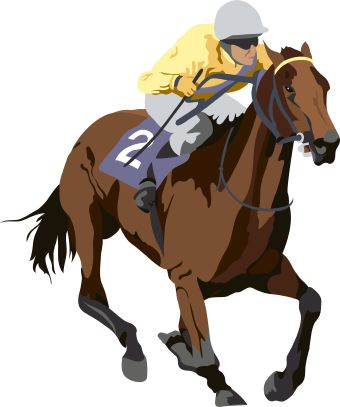 Free Auto Racing Clip  on Clip Art Of Racing Thoroughbred Horse Ridden By Jockey In Yellow Silks