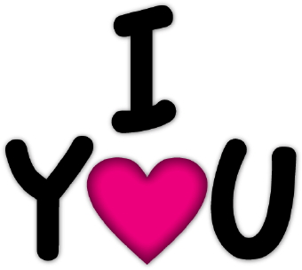 "... the words ""I Love You"" in black with a pink heart as the ""O"