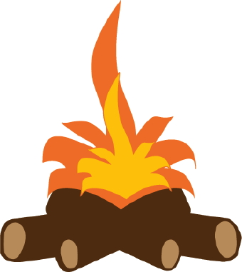 Clip art of logs and firewood under bright orange and yellow flames.