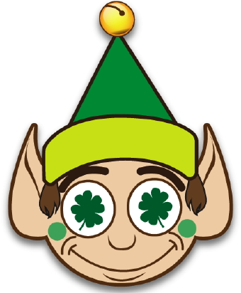 happy, lucky elf with a green jingle bell cap and clovers in his eyes ...