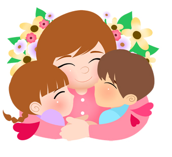 Clip art of young children sharing a hug with mommy for Mothers Day.