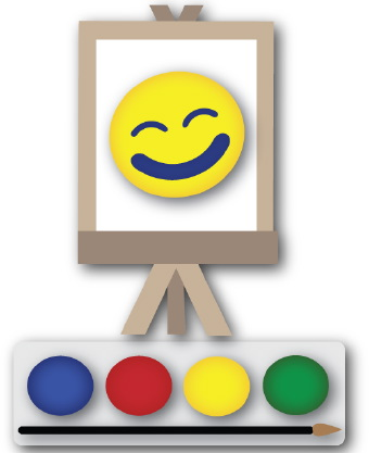 Clip art of a set of colorful paints with a paintbrush and an artist easel
