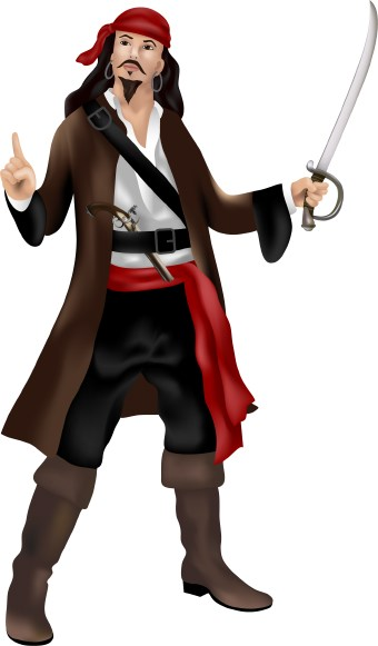 Clip art of a pirate with cutlass sword and pistol.