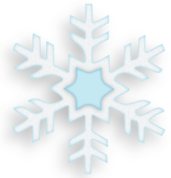 Clip art of a sparkly, white-and-blue snowflake.