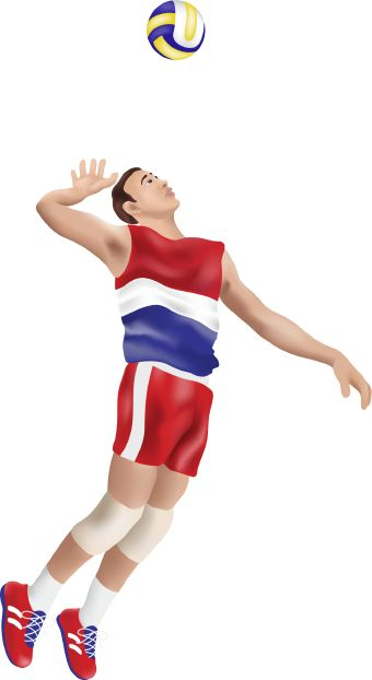 Clip art of volleyball player hitting the ball. This image is free to use in