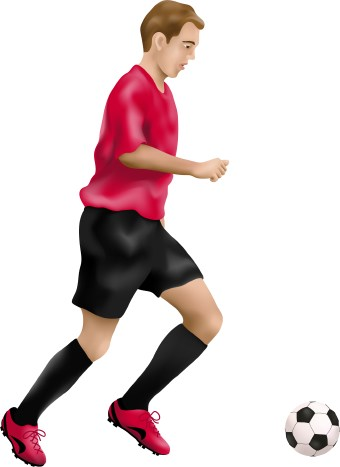 Clip art of a soccer player kicking an English football. This image is free