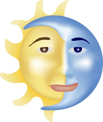 Clip art of the sun and moon being morphed together.