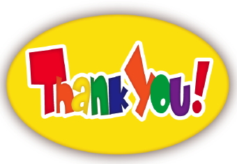 "Clip art of a colorful ""Thank You"" on a bright yellow oval ..."