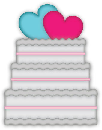Clip art of a threetiered white wedding cake topped with a pair of red and