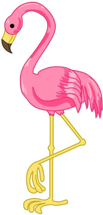 Clip art of a pink flamingo standing on one leg.