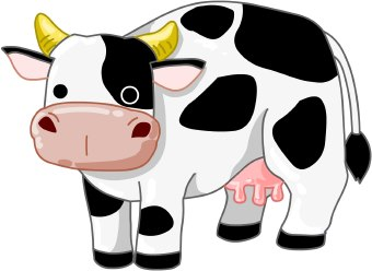Clip art of a black and white cow with horns standing