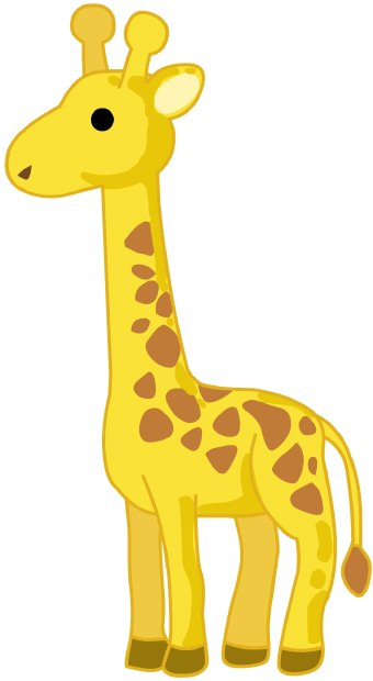 Clip art of an African yellow and brown reticulated giraffe standing in