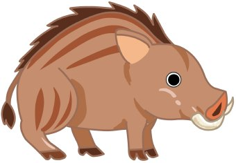 Clip art of a brown striped wild boar pig with long tusks