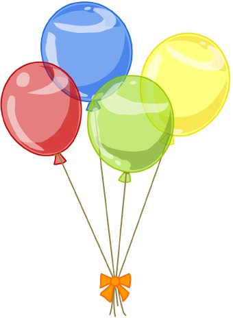 Clip art of four colorful red, blue, green, and yellow balloons tied with