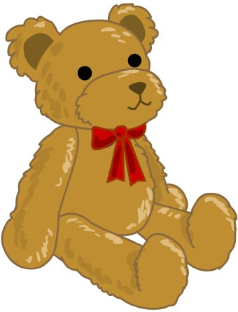 Clip art of a seated fuzzy brown teddy bear wearing a red ribbon bow around