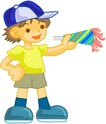 Clip art of a boy wearing dark shorts and a t-shirt with a blue and white