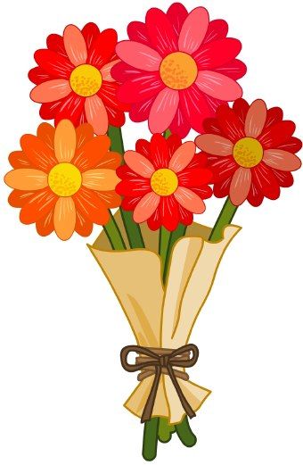 clip art of a bouquet of red daisy flowers wrapped in brown paper with