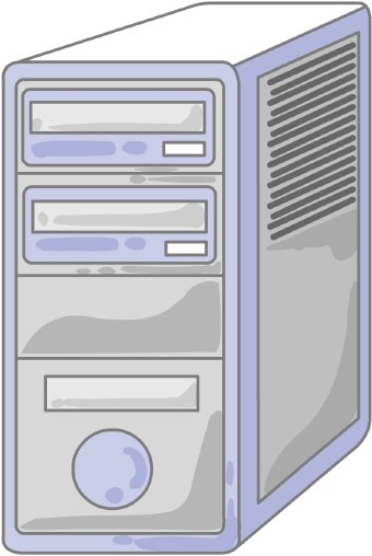 Clip art of a grey computer tower CPU with no monitor or keyboard