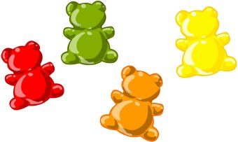 Clip art of four red, green, orange, and yellow gummi bears or ...