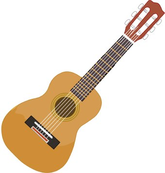 Clip art of a six-string guitar. This image is free to use in your web site