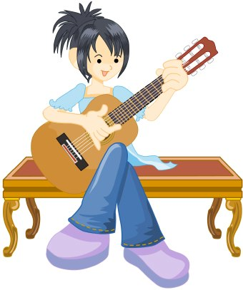 Clip art of a girl sitting on a bench playing a classical guitar