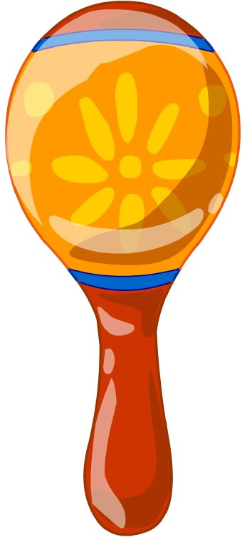 Clip art of an orange and red maraca. This image is free to use in your web