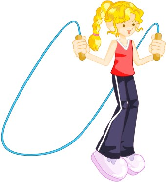 Clip art of a blonde girl with red top and dark pants with a pink jump rope