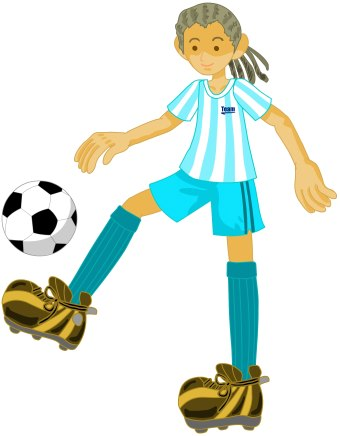 Clip art of a girl kicking a soccer ball
