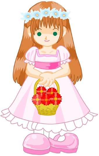 Clip art of a wedding flower girl wearing a pink dress carrying a basket of