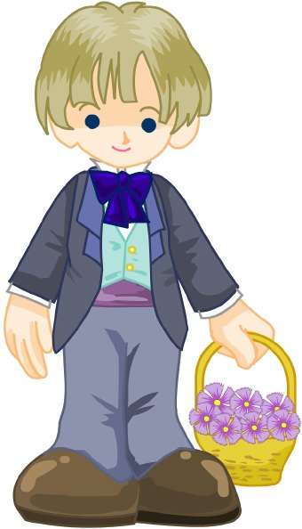 Clip art of boy wearing coat and bow tie with basket of purple flowers