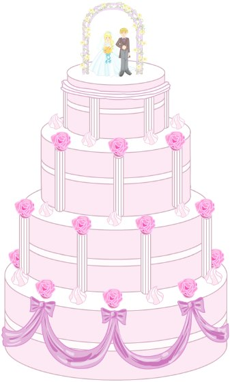 Clip art of a four-tiered white wedding cake decorated with pink flowers and