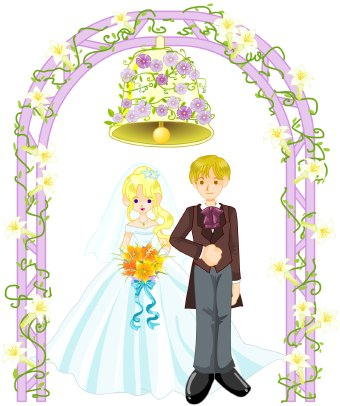 Clip art of a bride and groom standing under a flowercovered arch